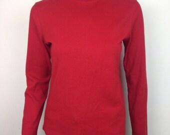 VTG 90s Tommy Hilfiger Red Cotton Turtleneck Top Shirt