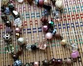 Beautiful Beaded Necklace--Powder Pinks and Black Like Night