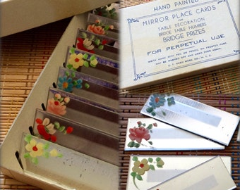 Beautiful Boxed Set of Hand Painted Vintage Mirror Place Cards, R