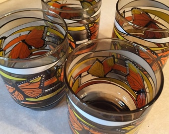 Vintage drinking glasses butterflies  Anchor Hocking giftware collection