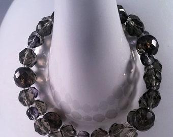 Grey and Black Diamond Czech Glass Memory Wire Bracelet
