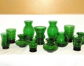 Emerald Green Glass Vases, a Set of 12 Vintage Forest Green Bud Vases, 3-6 Inch Tall, Make Clusters of Vases for a beautiful Centerpiece