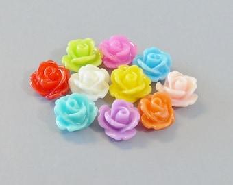 30pcs Rose Flowers...Resin...Cabochon...10mm...10 Colors...F3