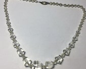 Art Deco Gold filled Unique Faceted Clear Crystal Beaded Necklace