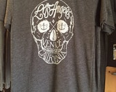 Los Angeles Venice, CA Skull Art Print T-shirt American Apparel   M L or XL
