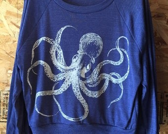 Kraken Octopus Slouchy Raglan T-Shirt American Apparel Tri-Blend   S  M or L