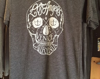 Los Angeles Venice, CA Skull Art Print T-shirt American Apparel   Xs S  m l  xl or XXL