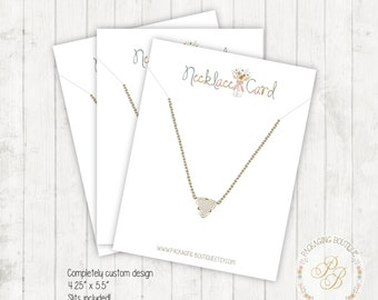 50 Large Necklace Display Cards - custom design 4.25x5.5 - slits included in price - brown kraft or white paper - jewelry display card