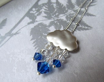 Silver cloud necklace, swarovski crystal necklace, rain cloud necklace