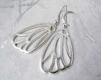 Silver butterfly wing earrings, butterfly earrings, minimal earrings