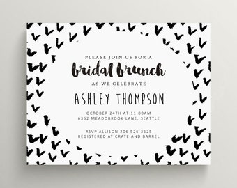 black and white bridal brunch invitation // engagement party invitation // baby shower // birthday // thank you note // modern // simple