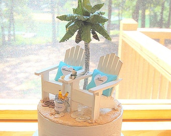 """5"""" Base! Small Beach Beverage Wedding 5 Inch Cake Topper Custom Colors Handmade To Order Adirondack Chairs And More"""