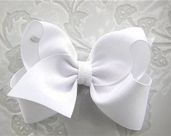 White Hair bow, Boutique Hair bow, White Hairbow, White Bow, Large White Hairbow, Classic Bow, White Ribbon Bow, Grosgrain Hairbow