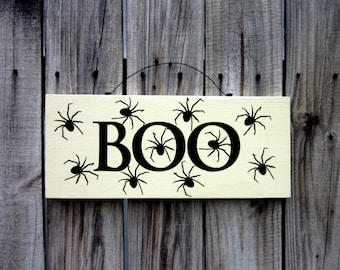 Boo Sign, Spiders, Wooden Sign, Halloween Decor, Spooky, Scary, Boo, Painted Wood Sign, Black Spiders