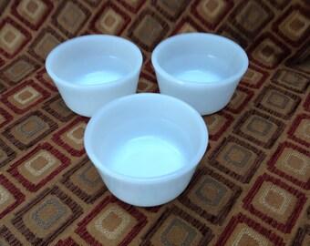 Three Glasbake Individual Custard Bowls