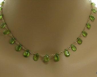 Peridot Briolette Necklace in Gold