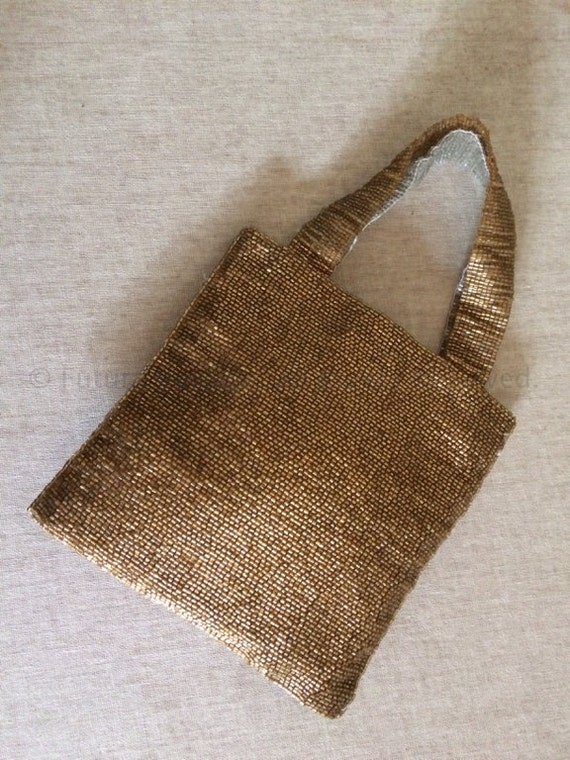 1940s 1950s Glamour Two Tone Gold & Silver Seed Beaded Lined Evening Vintage Handbag with Snap Closure
