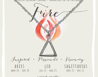 Alchemy Jewelry, Alchemy Necklace, Alchemy Symbols, Aries Necklace, Leo Necklace, Sagittarius Necklace, FIRE ALCHEMY CHARM Necklace.