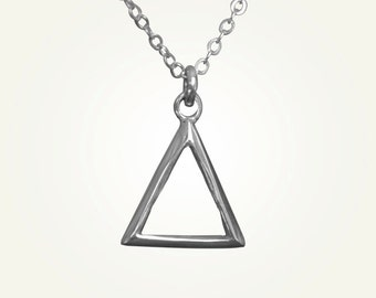Triangle Necklace, Triangle Pendant, Silver Triangle Necklace, Sagittarius Necklace, Leo Necklace, Aries Necklace, FIRE ALCHEMY CHARM.