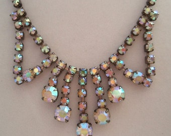 Vintage Aurora Borealis Rhinestone Necklace Gorgeous for Cocktail Party Bridal Wedding Hollywood Glamour Multi Color Rhinestones