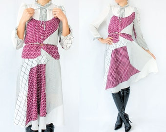 SALE...80's Vintage White WINDOWPANE Print Dress / Ruffle Bow tie Collar Peplum Waist Full Skirt Midi Length Puff Sleeves Grid Checker Print
