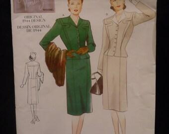 Vintage Vogue 1940s Suit Pattern Uncut size 18  Bust 42 V2198