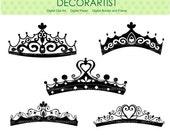ON SALE Silhouette Princess clipart, princess Tierra , Black, instant download clipart