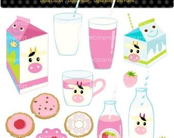 ON SALE clipart, Digital clip art happy strawberry milk clipart,  milk , biscute clipart , scrapbooking , INSTANT Download