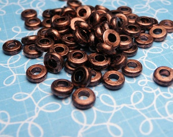 Small Copper Disk Spacer Beads 2x4mm - 50pc