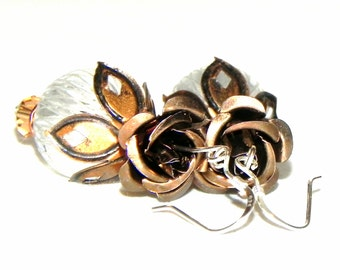 Chocolate brown Rose and White  Flower Earrings - Sterling Silver earwires