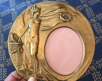 French art nouveau brass frame