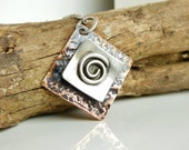 Spiral Necklace, Mixed Metal Jewelry, Rustic Boho Jewelry, Swirl Design, Necklace for Women
