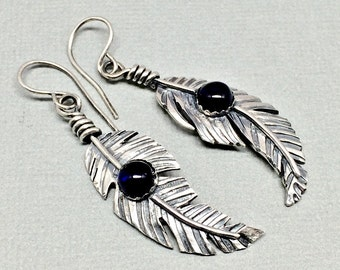 Sterling Silver Feather Earrings - Blue Sapphire - Earrings For Women