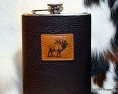 Men's Gift-Customized Leather Flask-Leather Stainless Steel Flasks - Bison Leather Flask or Cowhide Flask- Wedding Gift - Groomsmen, Hunter