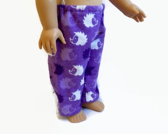 Doll Pajama Pants, 18 Inch Doll Clothes, AG Doll Pajamas, Purple Hedgehog Pajamas