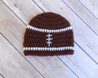 Baby Football Hat, Football Beanie, Sports Hat, Baby Boy Beanie, Crochet, Knit, Football Season