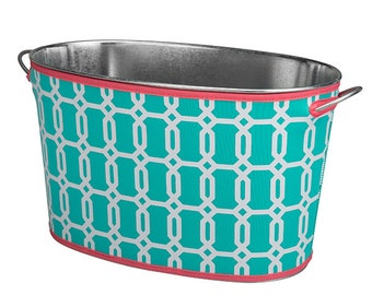 Monogrammed Aqua Beverage Bucket Trimmed in Coral; Neoprene Cover Prevents Your Bucket From Sweating;Fabulous Gift for Everyone