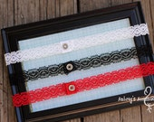 Thin Black, Red, or White Lace Headband. Interchangeable Snap Headband