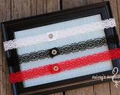 Thin Black, Red, or White Lace Headband. Interchangeable Snap Headband
