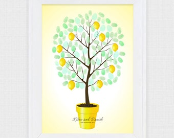 lemon tree wedding fingerprint guest book - printable file - yellow, wedding tree, custom personalised, thumb print, unique guest book ideas