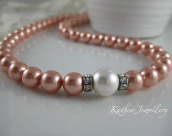 Kate- Bridal Peach and White pearl Necklace .Swarovski Rose Peach pearl Necklace .Bridesmaids pearl Strand Bridal necklace.