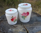 RESERVED For ELIZABETH - jcrewgirl - Vintage Set of 2 Lovely Shabby Chic Milk Glass Cold Cream Jars