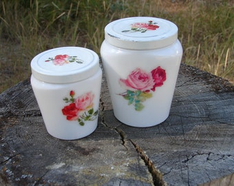 Vintage Set of 2 Lovely Shabby Chic Milk Glass Cold Cream Jars