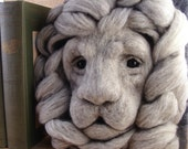Needle Felted Lion Gargoyle Soft Sculpture by Bella McBride Greenman or Hunky Punk One-of-a-kind