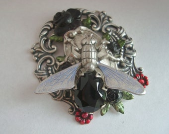 Unique Jeweled Fly on the Pendant, Custom Crafted With Metal Bonds, NO Glue, Quality Crafted For The Designer In You, Just Add A Chain, USA