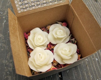 4 Floating Rose Beeswax Candles - Ivory White