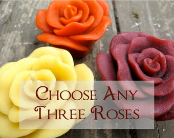 Choose any Three Beeswax Floating ROSE candles
