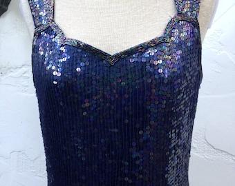 90's Sequined Body Con GLAM DRESS // Iridescent Navy BLUE Sequined Silk Dress // SweetHeart Neckline // Medium / Size 10