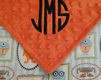 Personalized Monogrammed Baby Security Lovey Blanket Monsters Minky Baby Boy 18x18