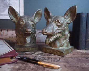 "Vintage 1930s German Shepherd  ""Buddy"" Bookends /  Seeing Eye Dog For The Blind"